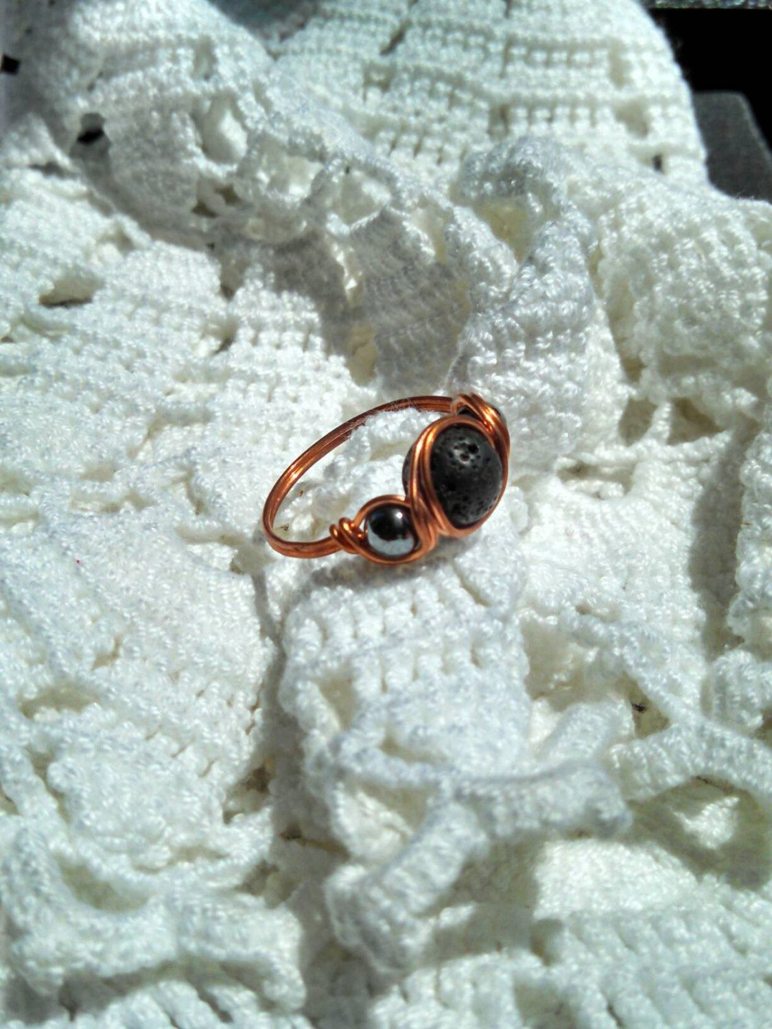 Magnetic Hematite Wire Wrapped Ring