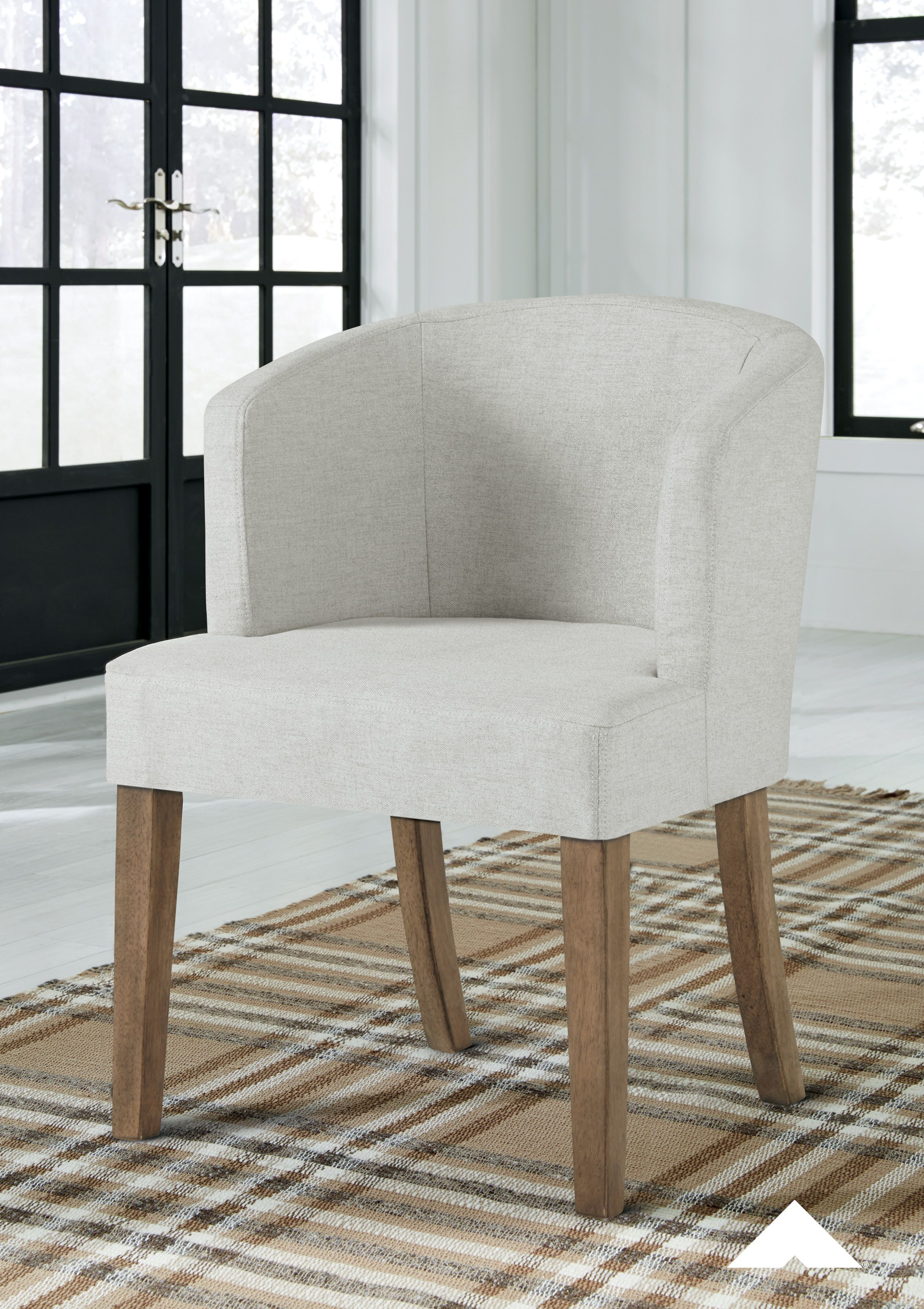 Grindleburg Dark Brown Linen Dining Upholstered Arm Chair From