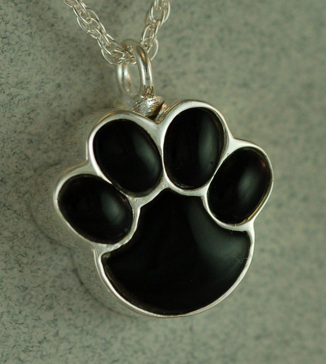 Ever My Pet Onyx Paw Pet Urn Pendant Silver Silver
