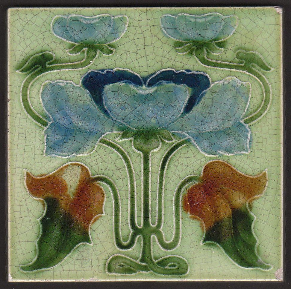 Art Nouveau Majolica Tile By Boote Ebay Art Nouveau Tiles Art Deco Tiles Art