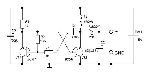 DC DC converter 1.5 To 3V schematic._Circuit Diagram World