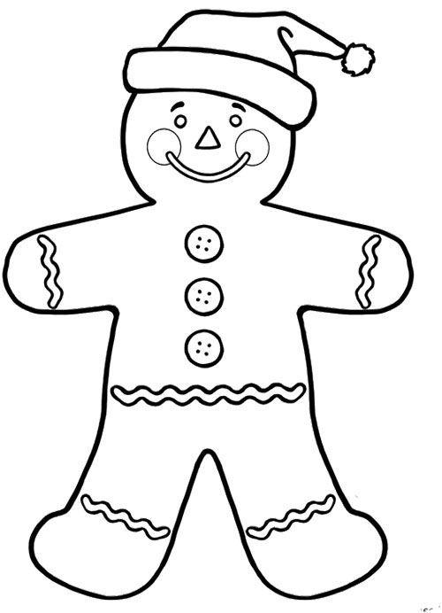 Gingerbread Man And Santa Hat Santa Coloring Pages Coloring
