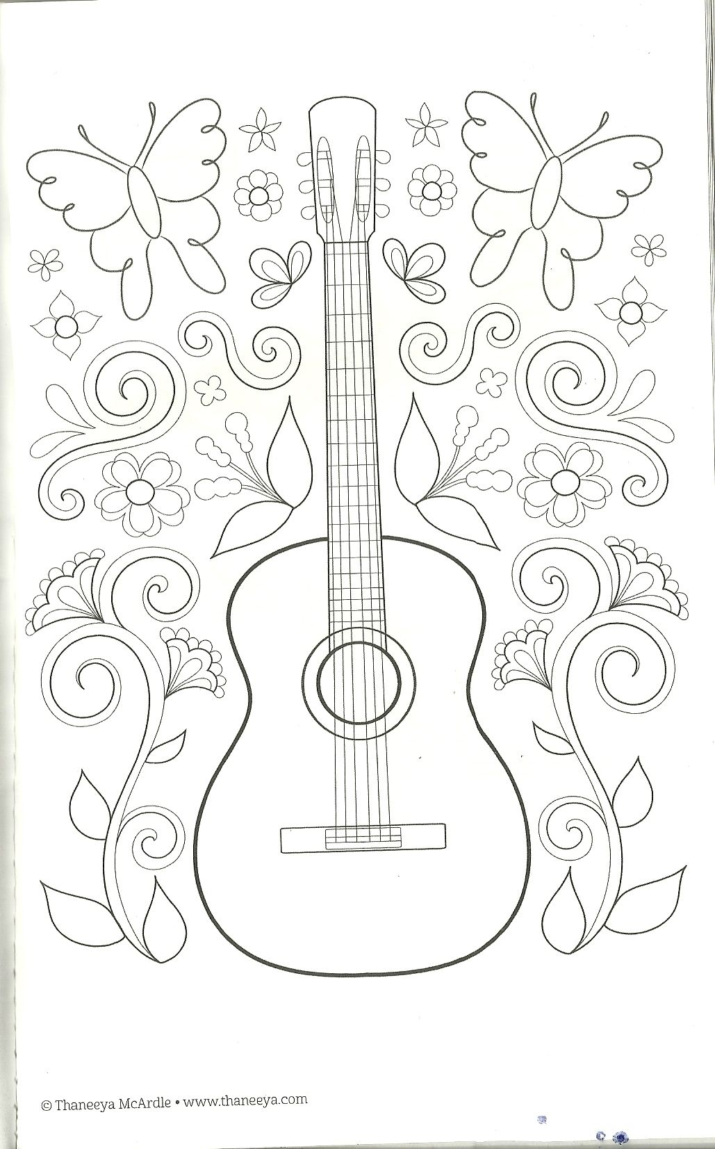 Guitar Coloring Page Designs Coloring Books