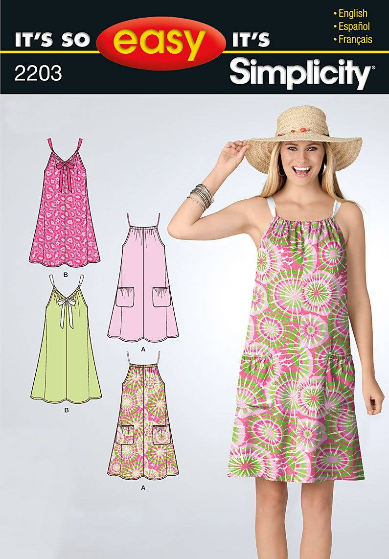 Simplicity 2203 Its So Easy Misses Dresses Simplicity Sewing Patterns Dresses Summer Dress Sewing Patterns Simple Summer Dresses [ 1142 x 795 Pixel ]