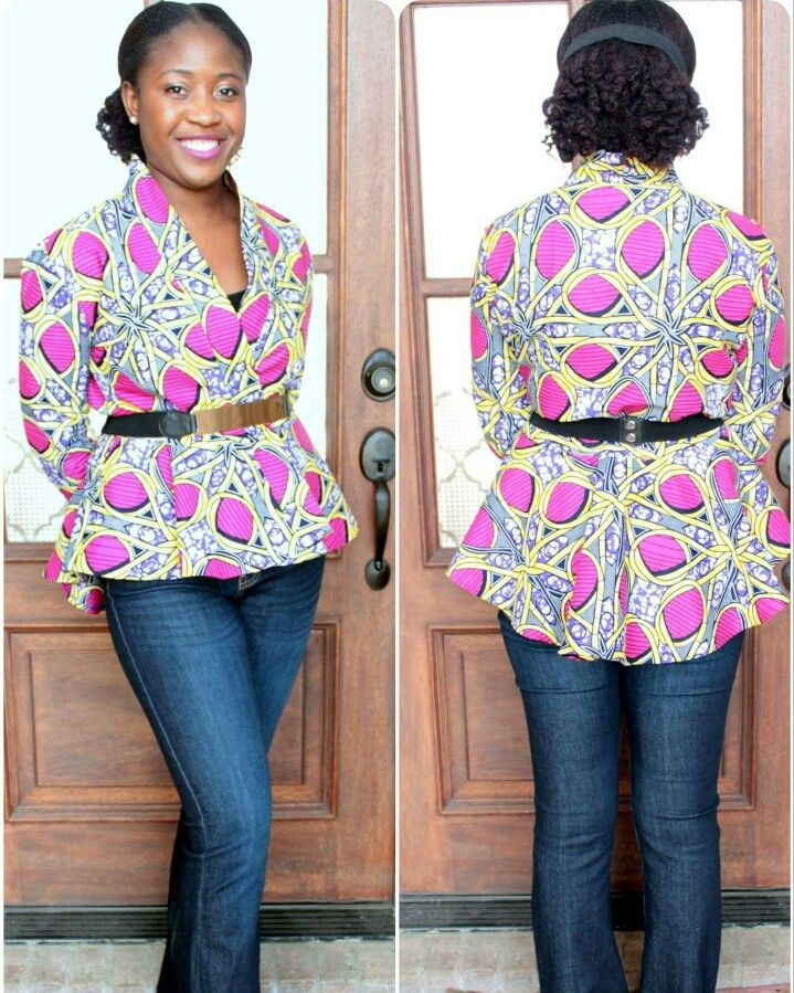 M6844 Jacket on African Print woven fabric instead of the sweater ...
