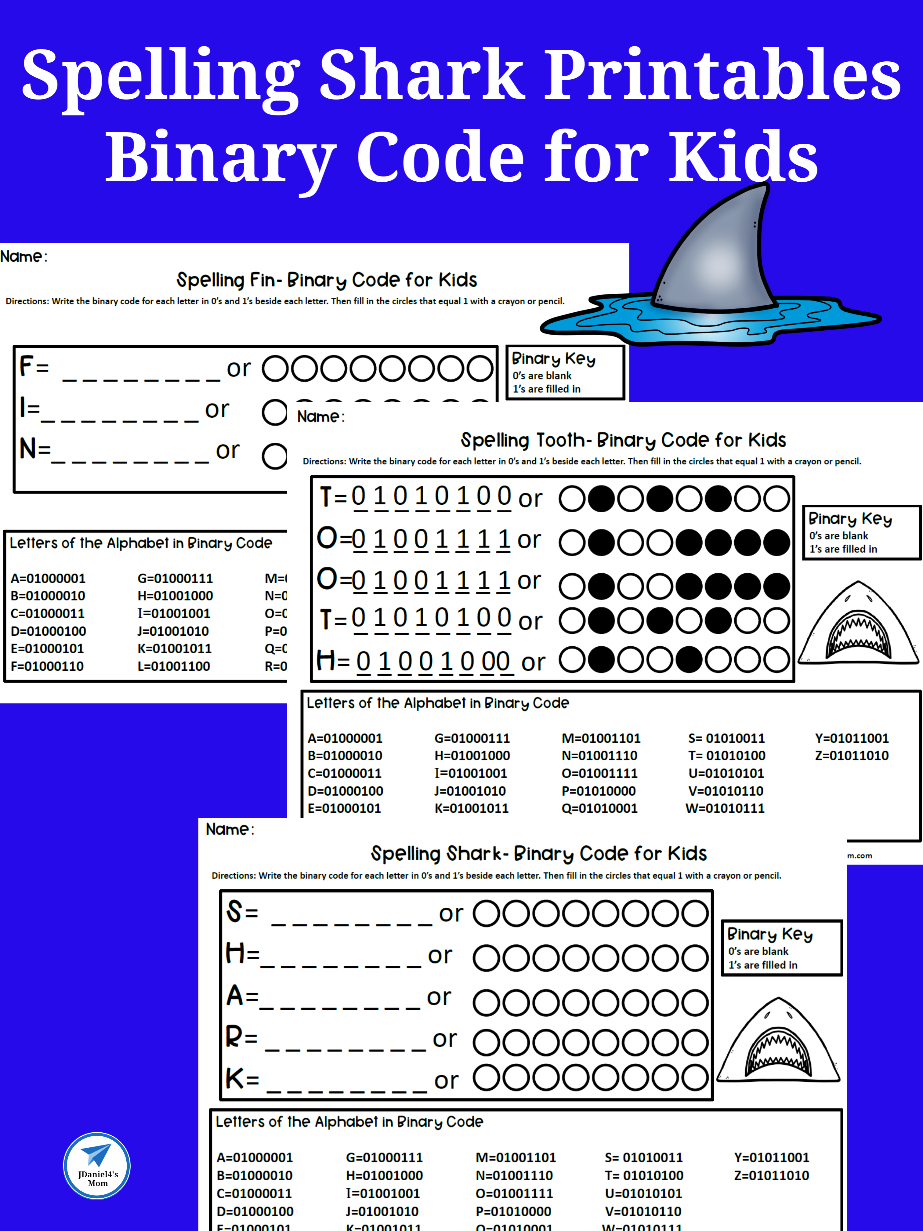 Binary Code For Kids Spelling Shark Printables