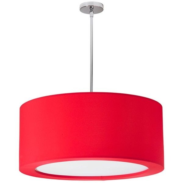 Dainolite 4-light Polished Chrome Pendant with Red Lycra Shade with Diffuser