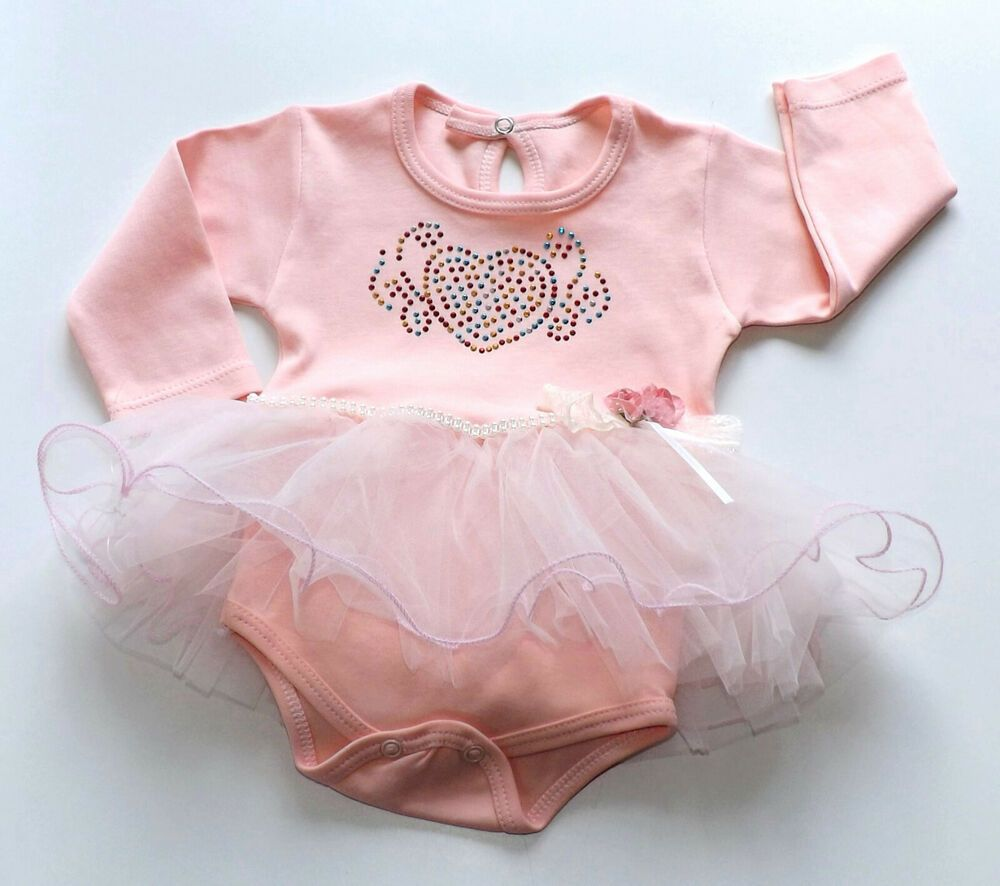 Babykleid Mächen Bodykleid  Gr.62-86 Langarm Babybody Baby Kleid Tutukleid