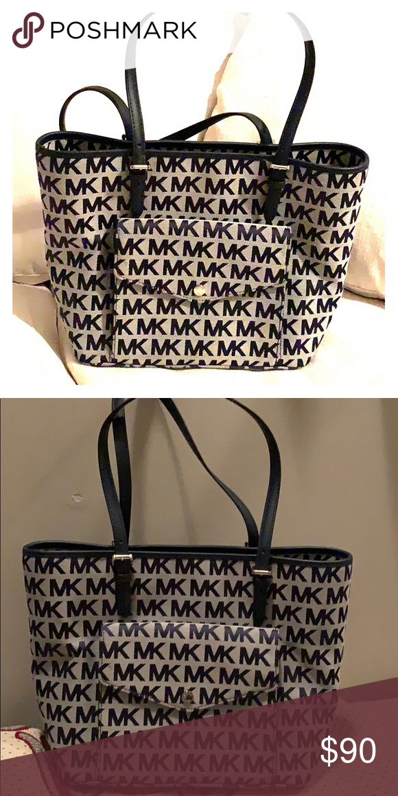 0d7f9fb0eb9d9 Michael Kors Purse Blue and Heather Gray Medium size purse Michael Kors Bags   Handbagsmichaelkors