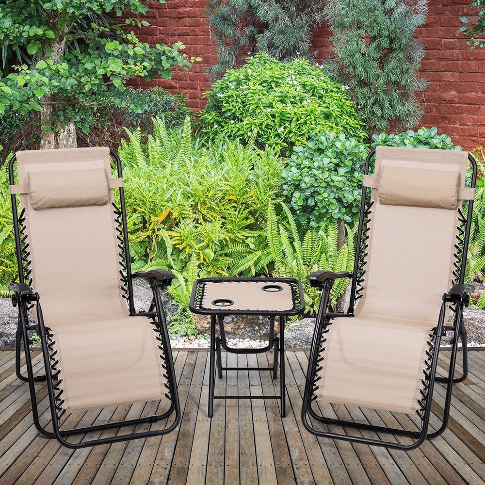 reclining patio chairs and table computer chair amazon 3pc zero gravity lounge pillows portable folding beige goplus chaise
