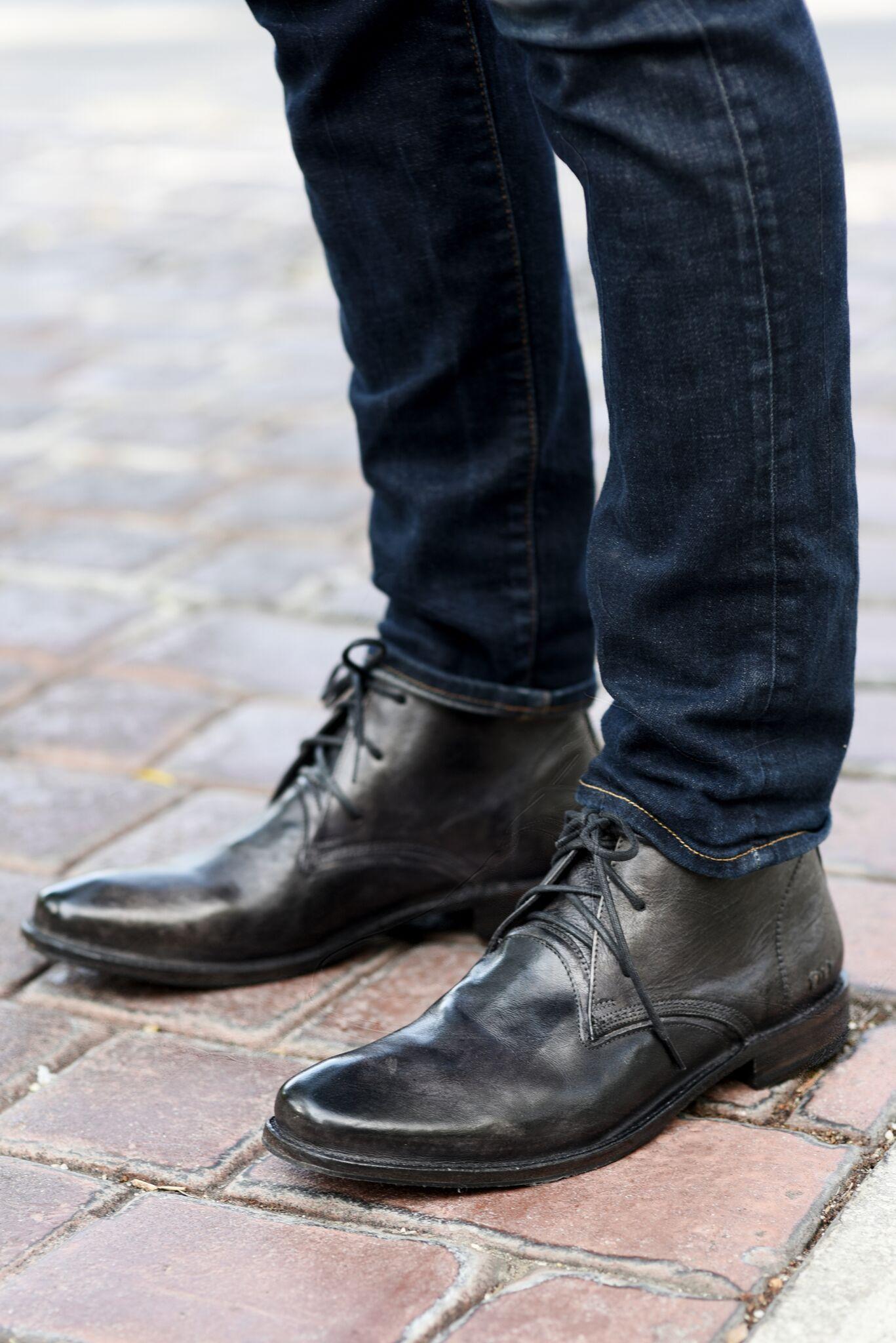 Black BEDSTU leather men's handmade lace up chukka styled