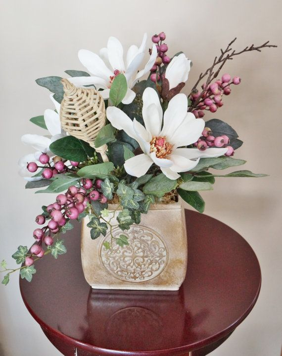 Flower Arrangement, Home Decor, Magnolias, Magnolia Arrangement, White  Arrangement, Silk Floral Arrangement, Floral Decor, Center Piece