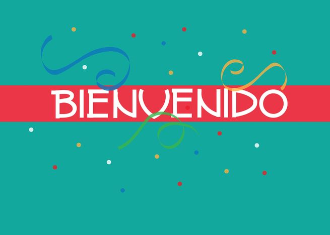 bienvenido welcome card in spanish teal and red with
