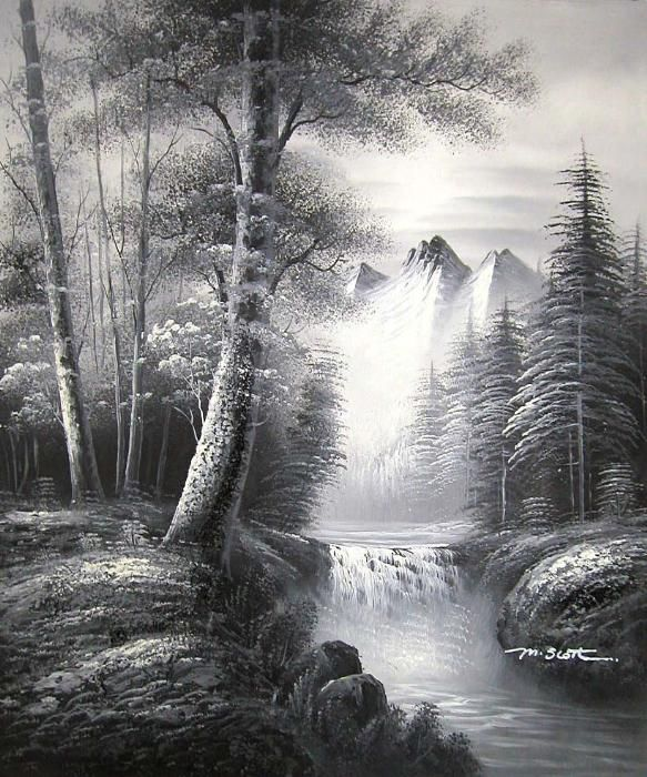 black and white landscape paintings art original