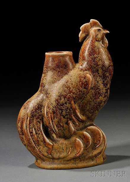 Brown ceramic Zsolnay-Figural-Rooster-Vase