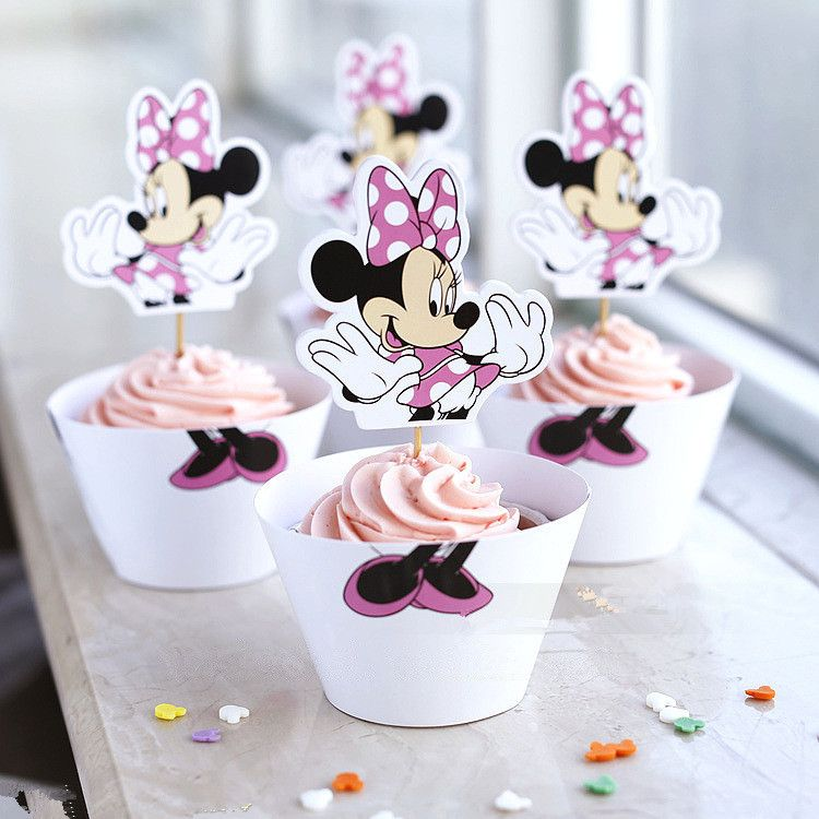 Wholesale Minnie Mouse Cupcake Wrappers Toppers Cake Picks Birthday Party Baby  Shower Decorations Supplies Favors For