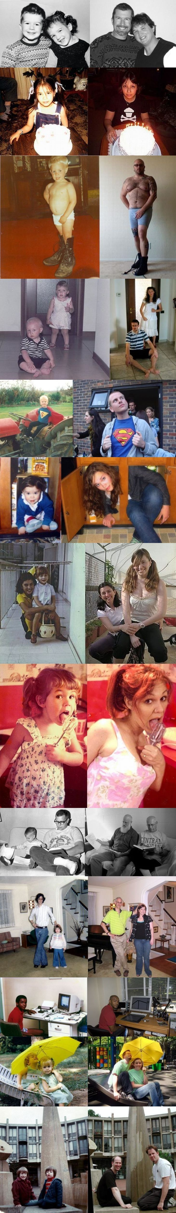 Recreating childhood photos - hilarious gift for parents.