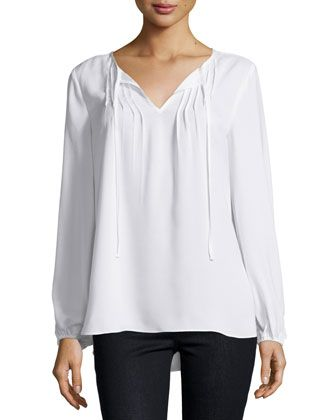 Sheer+Pintucked+Peasant-Sleeve+Blouse,+White+by+Neiman+Marcus+at+Neiman+Marcus+Last+Call.