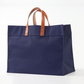 Navy Heavy Duty Cotton Canvas Bag With Leather Utility  @$40.99