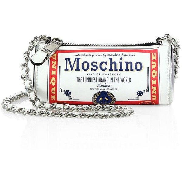 Moschino Beer Can Shoulder Bag (333.135 CLP) ❤ liked on Polyvore featuring bags, handbags, shoulder bags, apparel & accessories, chain handle handbags, shoulder hand bags, chain strap purse, moschino handbags and white handbags