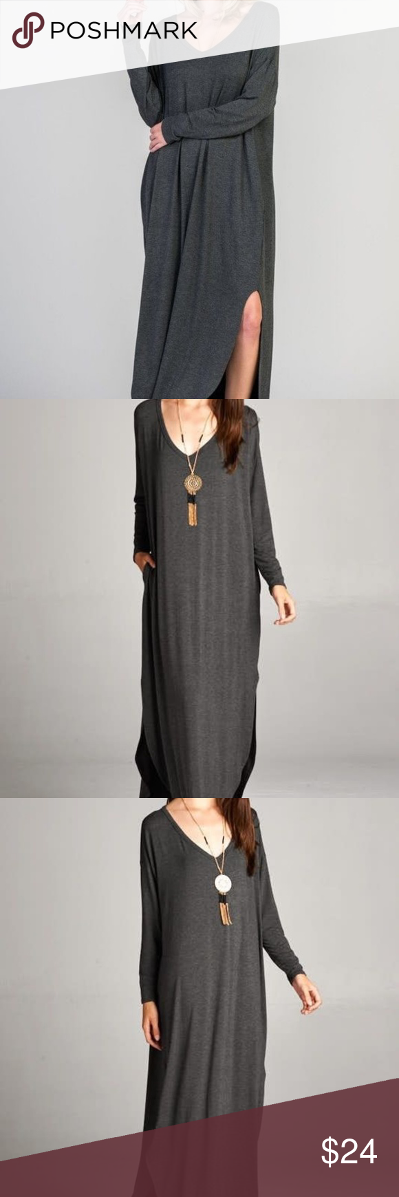 Oversize long sleeve maxi dress boutique my posh closet