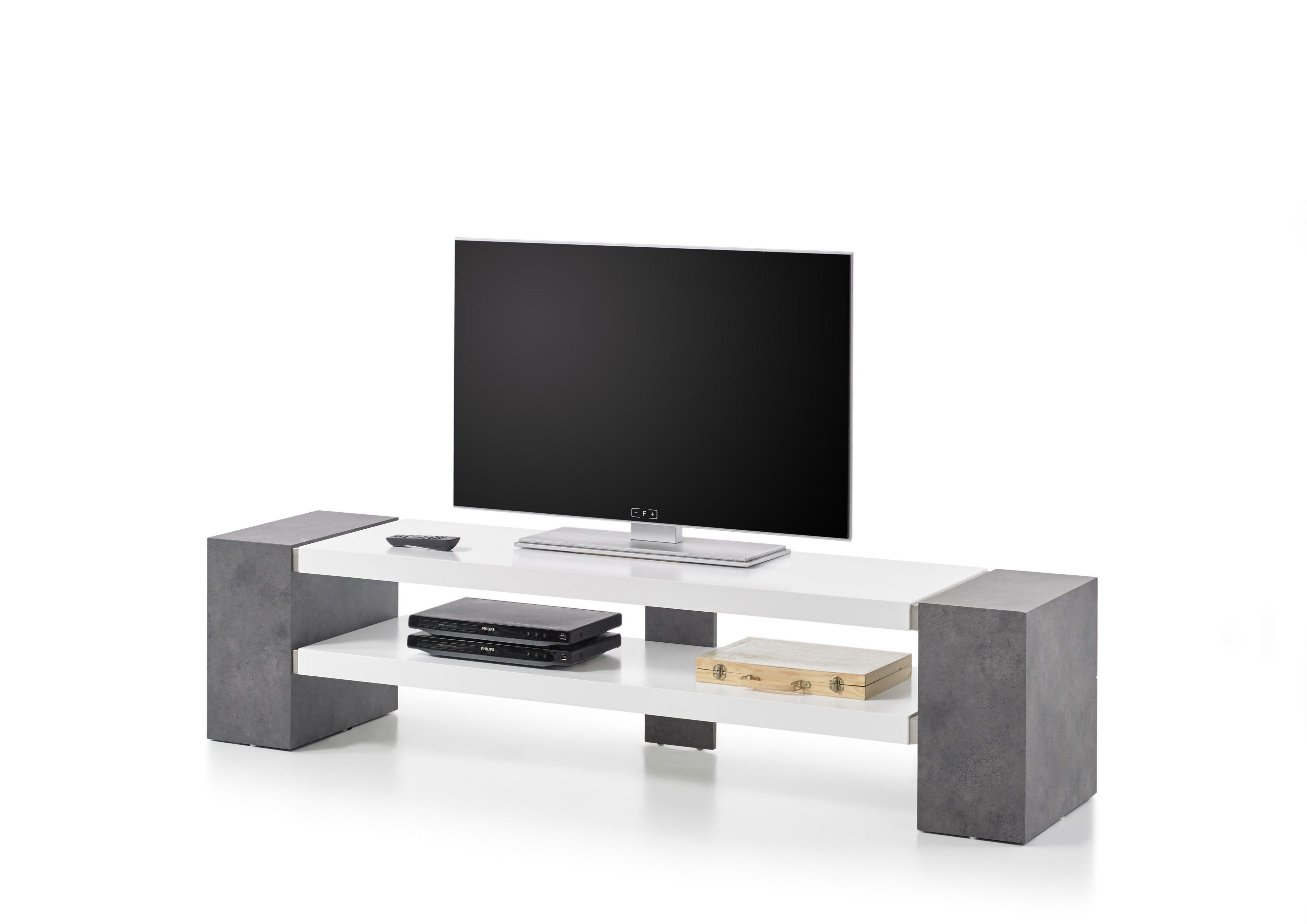 tv-rack weiss matt/ betonoptik woody 41-02598 holz modern jetzt