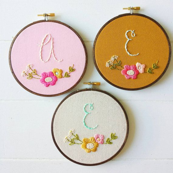 Monogram Embroidery Hoop Pattern - PDF Download  This is a printer friendly hand embroidery pattern suited for beginners.  You will receive in
