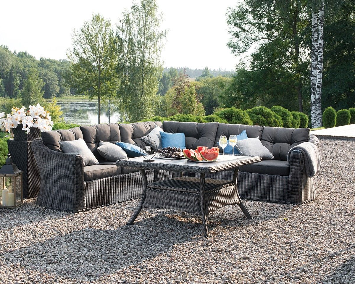 Luxurious Outdoor Sectional Set And Dining Table Featuring A Powder Coated Aluminum Frame With Hand Woven Petan Corner Sofa Set Sofa Set Outdoor Furniture Sets