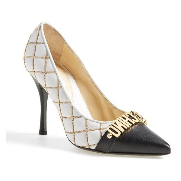 Signature golden logo letters grace the cap toe of a statement-making pump  styled with quilted white leather. Rows of gilded beads trace the seams, ...
