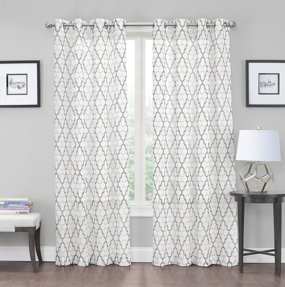 2 Pack: Kendall Luxurious Trellis Crushed Grommet Sheer Voile ... for Grey And White Voile Curtains  111ane