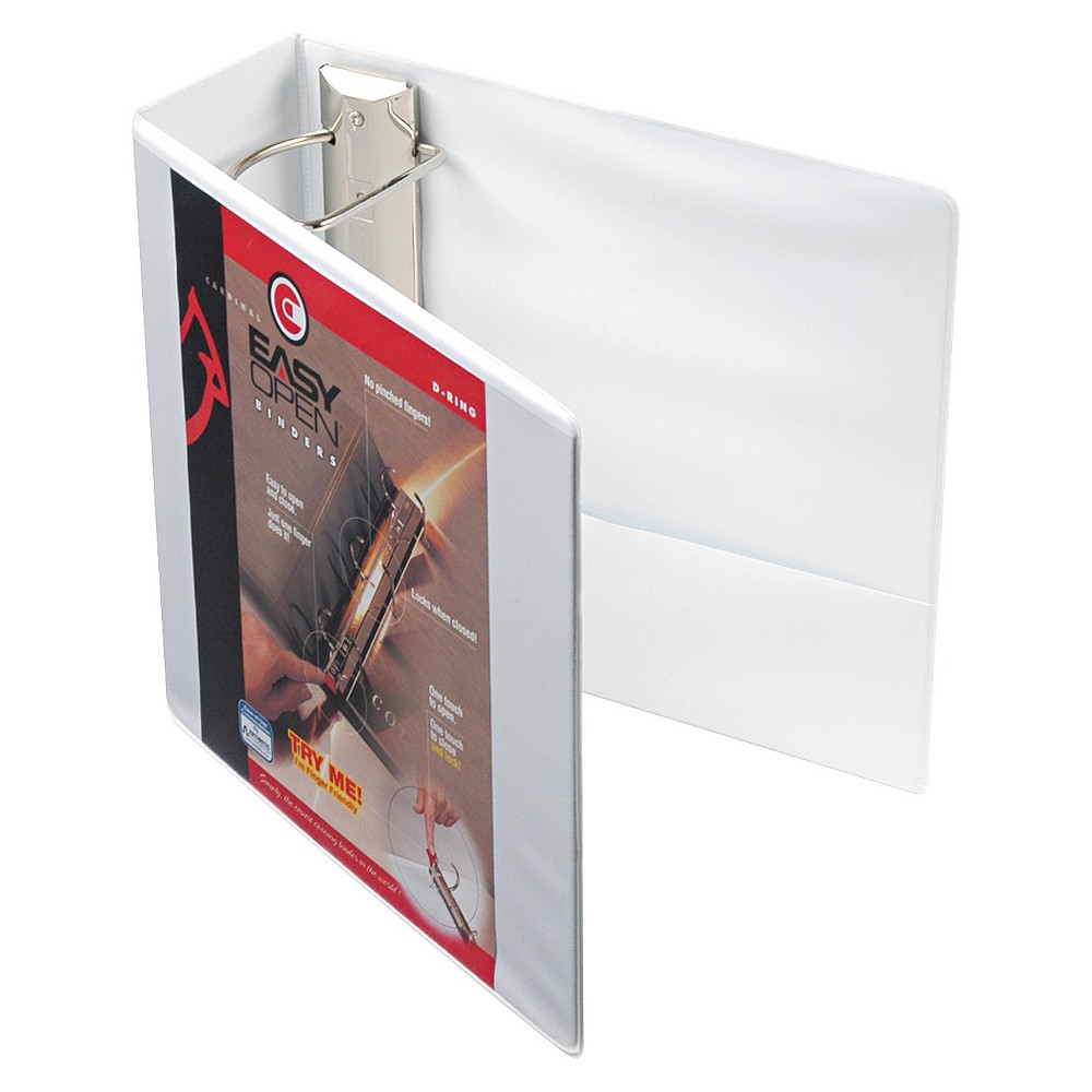 4 Easy Open Clearvue Extra Wide Locking Slant D Ring Binder 11 X 8 5 White Cardinal Presentation Binders