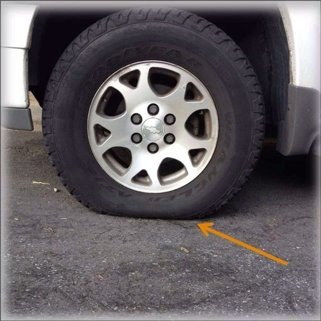 Don T Let A Flat Tire Put Your Road Trip Under Pressure Before Your Eyes Can Tell Air Pressure Can Be Low And Reducing Gas Mileag Tire Safety Car Care Car