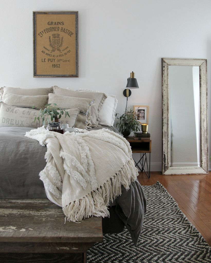 simple modern bedroom decorating ideas with modern farmhouse bedroom simple furnishings natural materials and muted colors via jeanne oliver designs