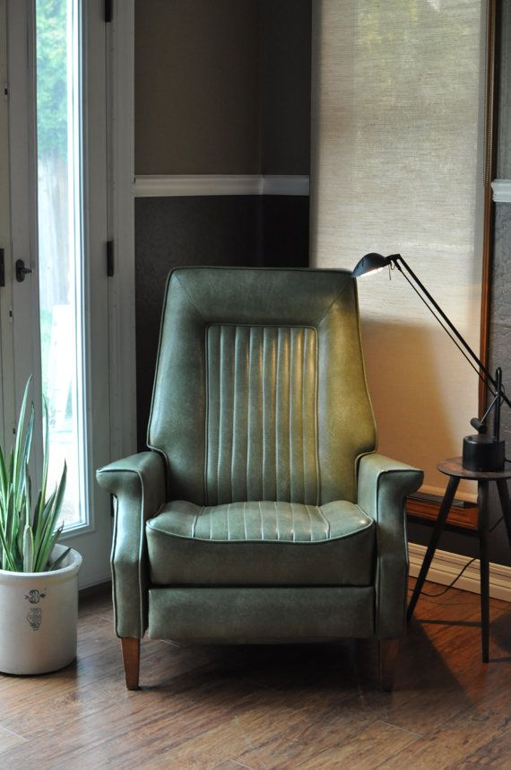 Mid Century Modern Recliner Chair In The Baughman Style/Low Profile Green  Vinyl Reclining Chair