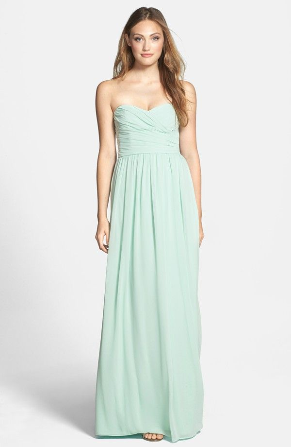 605423610305 Elegant in mint floorlength strapless bridesmaids gown | Perfect ...