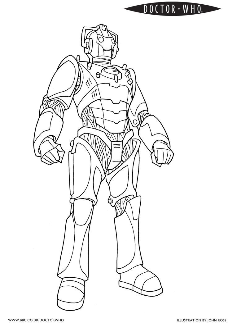 cyberman official bbc doctor who coloring page!  coloring