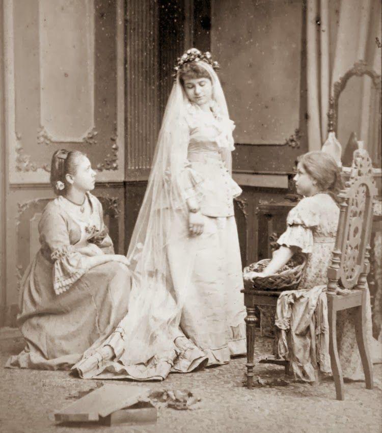 Fitting Her Wedding Dress, 1870s Photographer: H. Hirsch