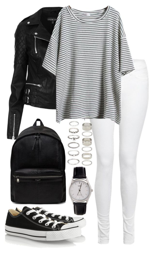 """""""Untitled #2087"""" by elenaday ❤ liked on Polyvore featuring Topshop, J Brand, Converse, Yves Saint Laurent, American Apparel and Forever 21"""