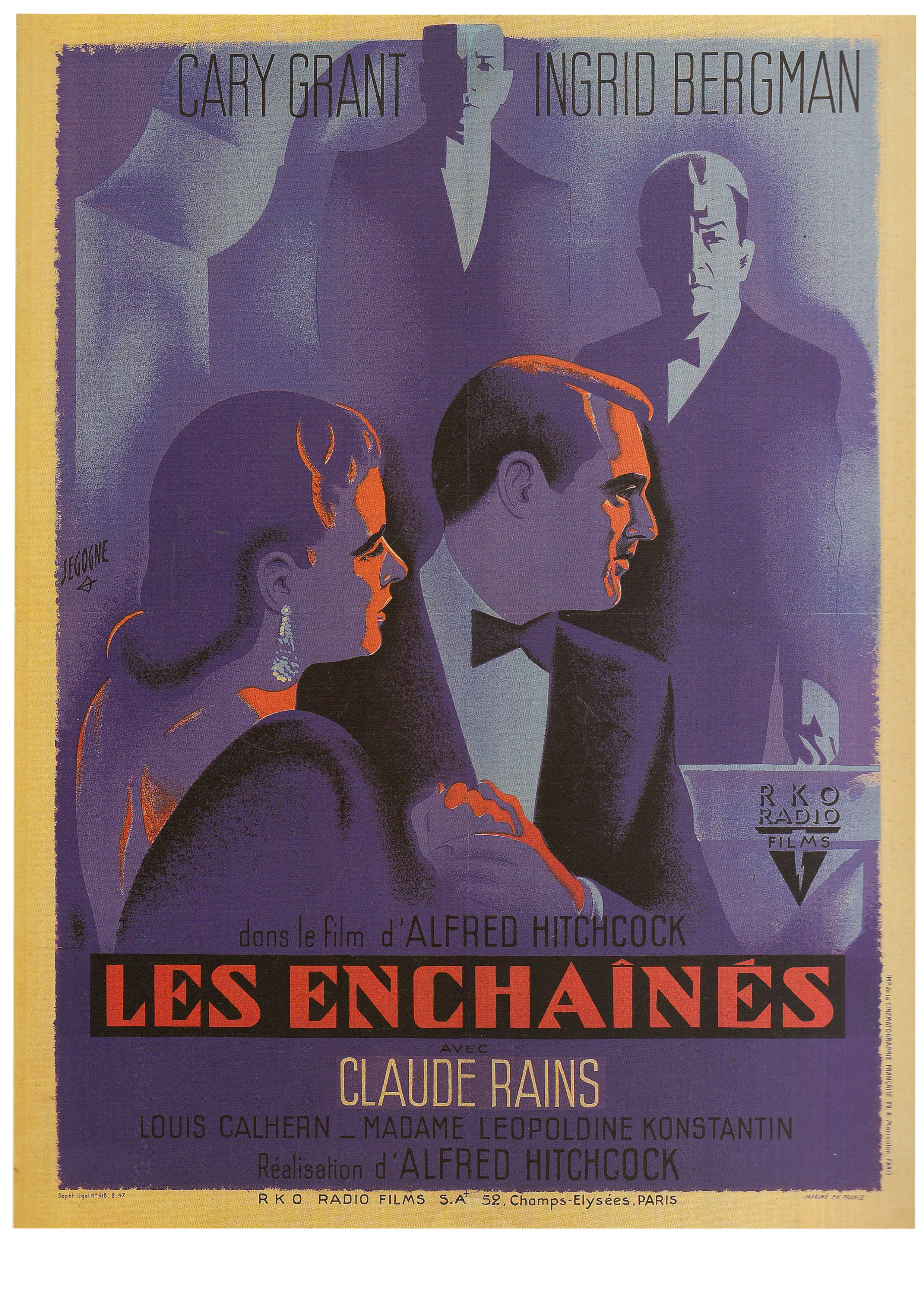 Notorious Les Enchaines 1946 Art By Pierre Segogne Book Film Posters Of The 1940s Tony Nourma Movie Posters French Movie Posters Movie Posters Vintage