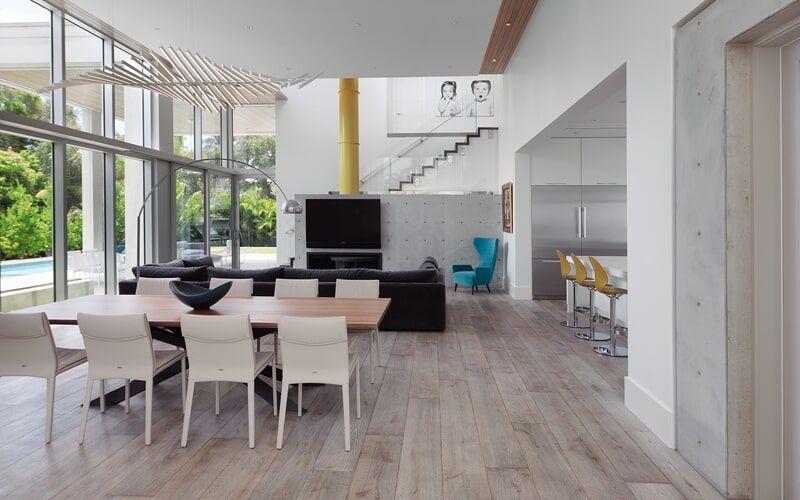 Dining Room With Gray Hard Wood Floors Interior Design Hardwood Floors Gray Inspiration In 2020 Light Grey Flooring Floor Design Grey Flooring