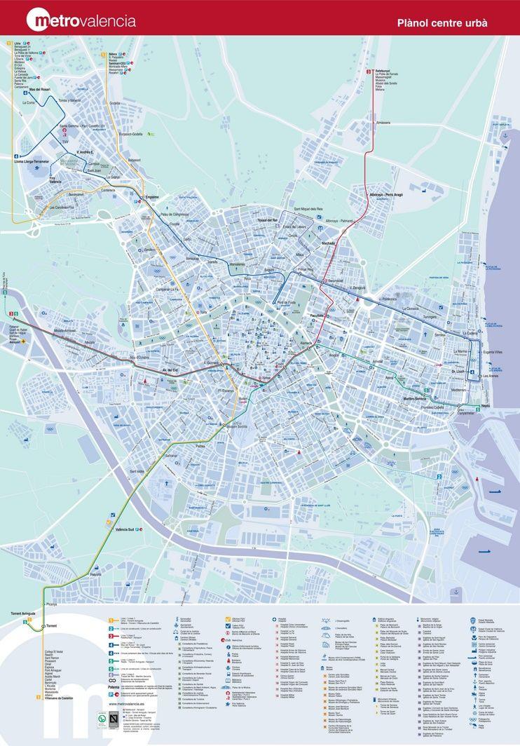 Tourist metro map of Valencia Maps Pinterest Valencia City