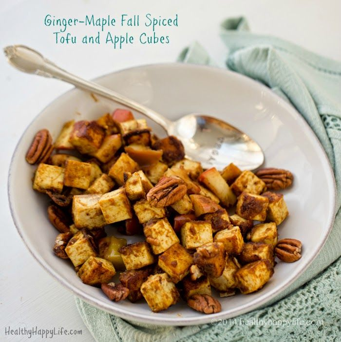 Ginger-Maple Fall Spiced Tofu and Apple Cubes   Giveaway