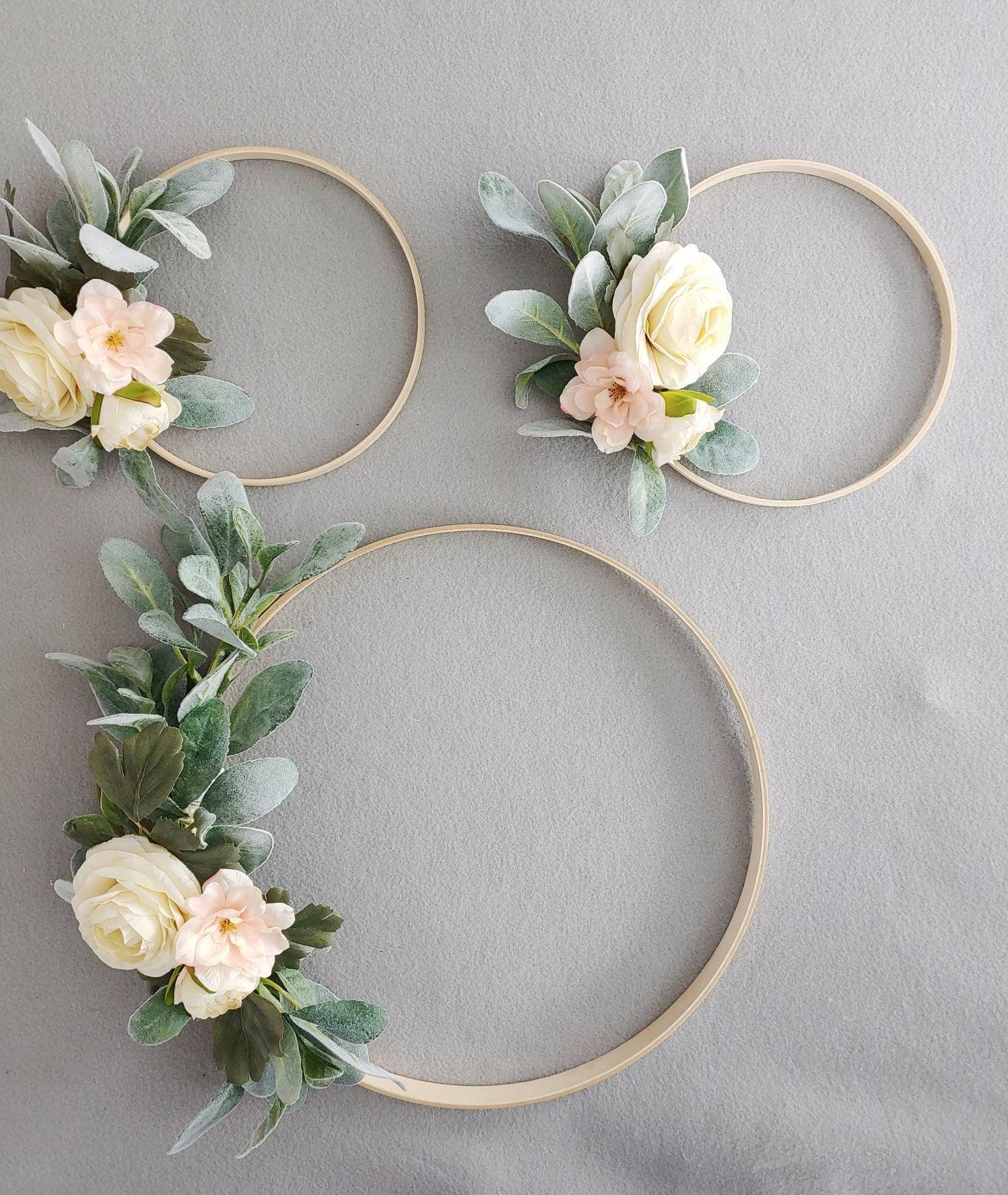 Photo of Floral Hoop Wreaths, Nursery Hoop Wreaths, Set of 3 Wreaths, Wedding Floral Wreaths, Hoop Wreaths