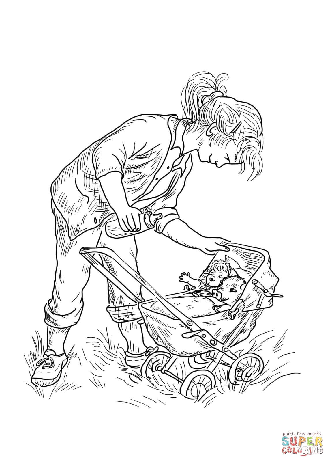 Fern pushes Wilber in her baby stroller | Coloring animals | Pinterest