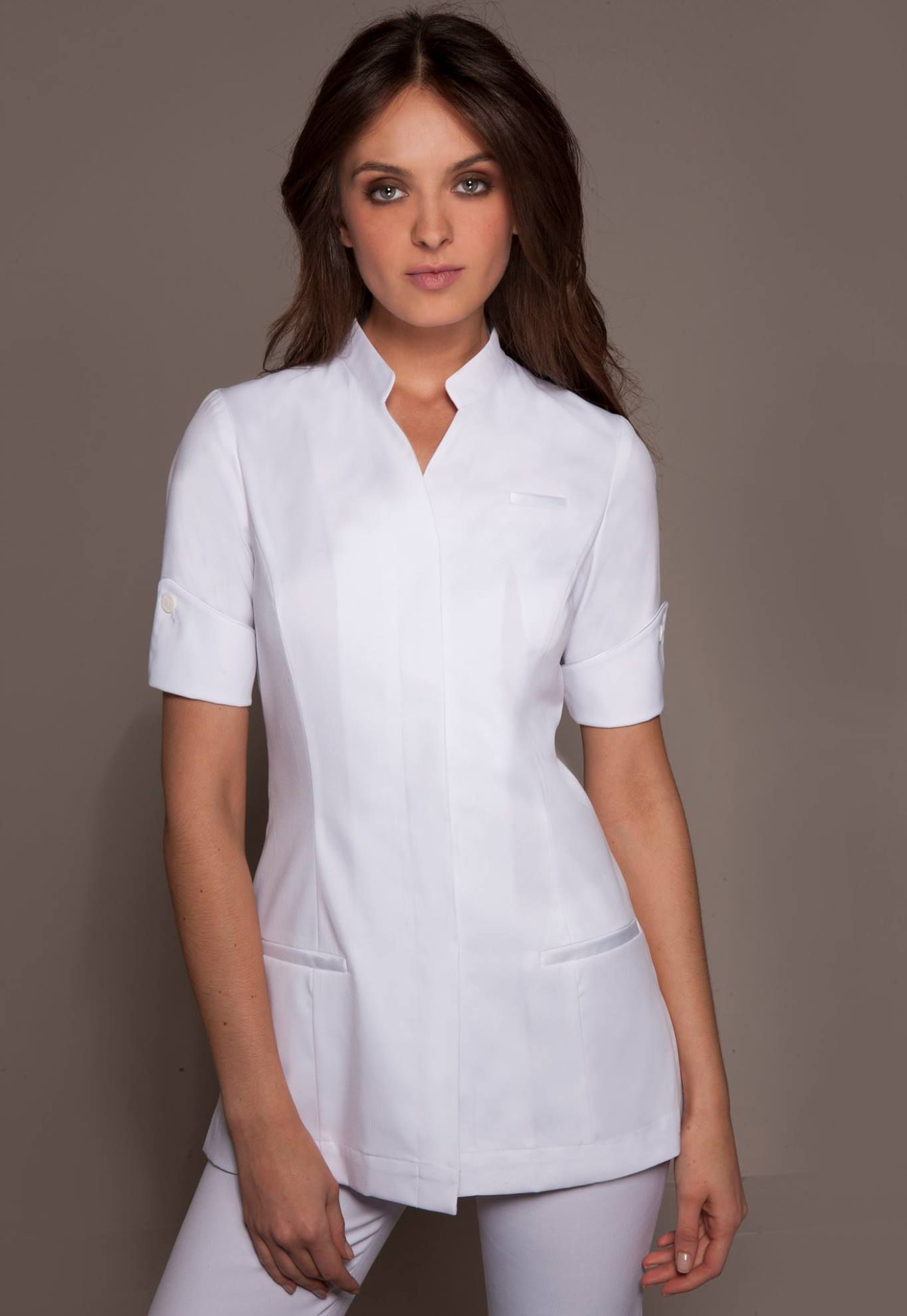 Stylemonarchy spa uniforms niagara tunic aesthetic for Spa uniform tunic