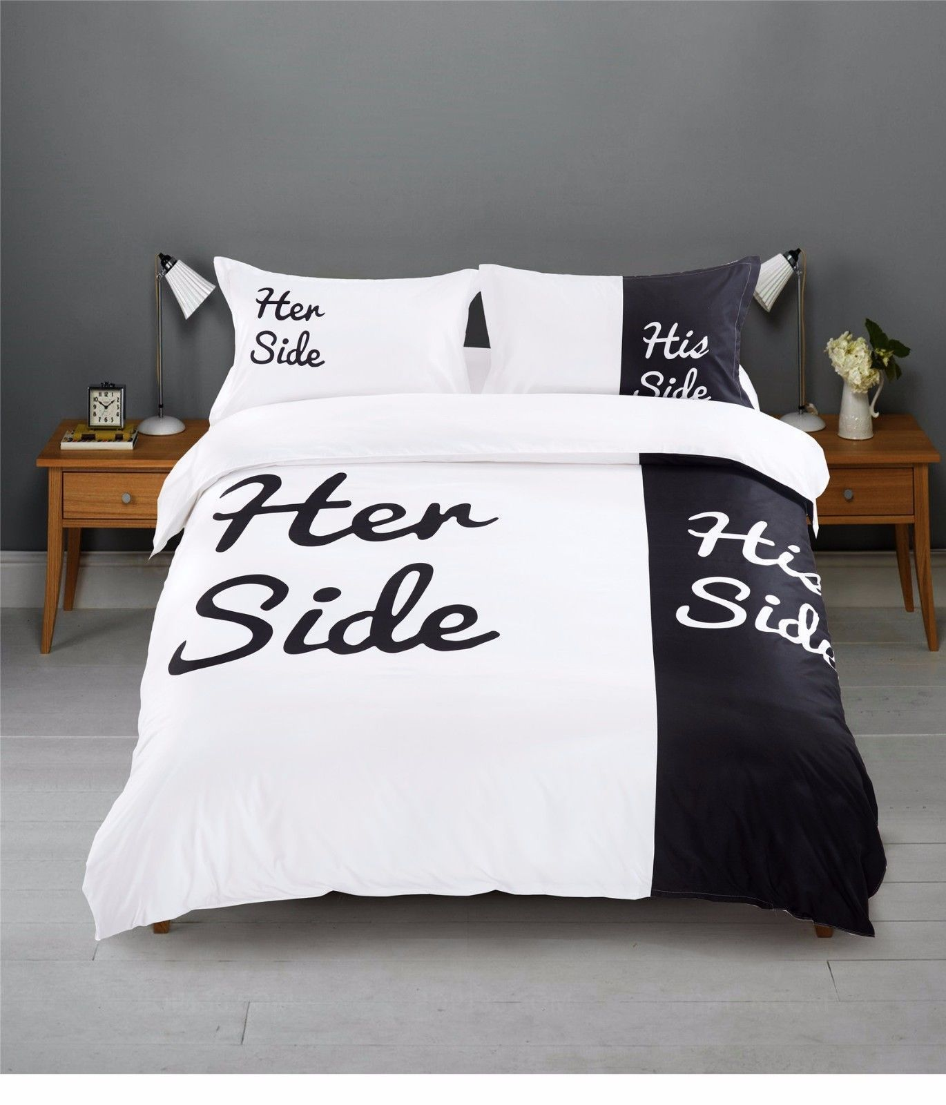 11 27 Lover Black White His And Her Side King Bed Size Duvet Quilt Cover Bedding Set Ebay Home G Queen Bedding Sets Couples Bedding Set Bed Duvet Covers