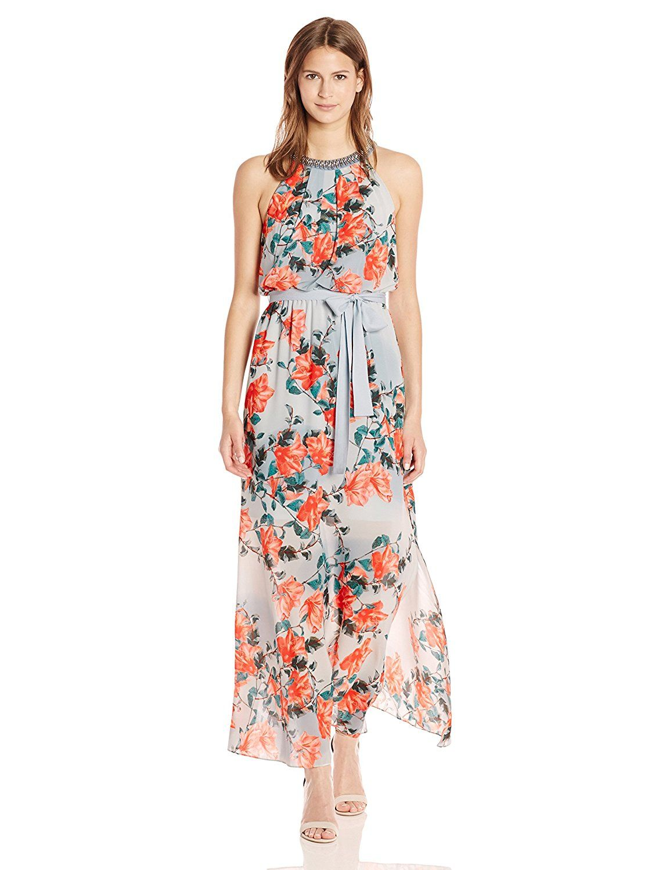 Adrianna papell womenus floral maxi dress at amazon womenus clothing