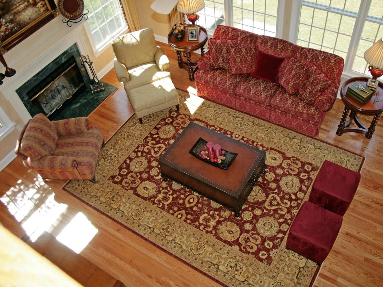 Traditional Living Room With Red Sofa And Oriental Area Rug Rugs In Living Room Living Room Carpet Living Room Red