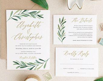 Greenery Wedding Invitation Template Printable Wedding