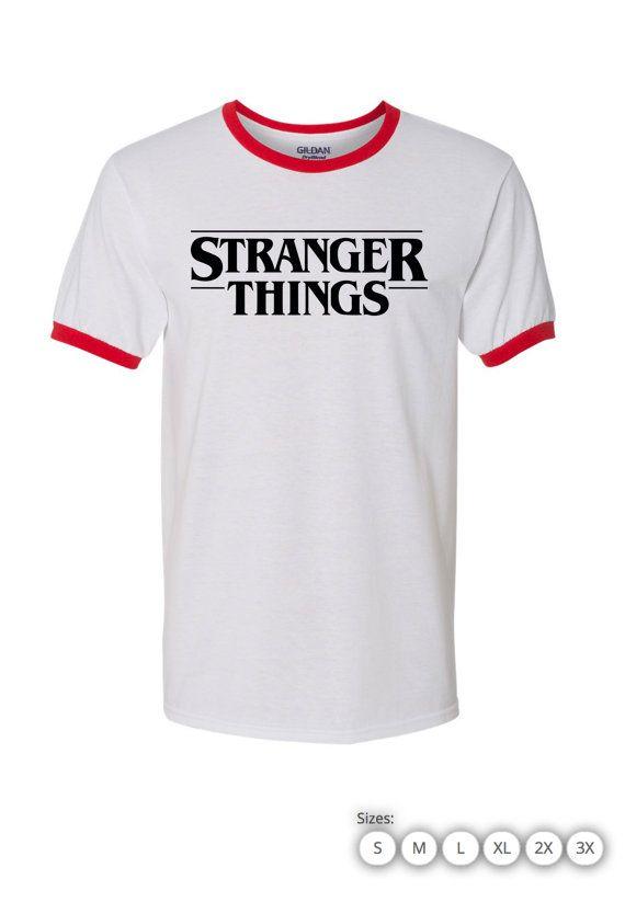 34cd1396f Stranger Things Ringer T Shirt Style : Gildan Ringer Tee Sizes : Small -3XL  Color : White Chest Red Ring, Grey Chest Red Ring, Grey Chest Black Ring,  ...